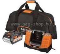 AEG 5 Ah kezdő szett 18V Akku + töltő + táska
